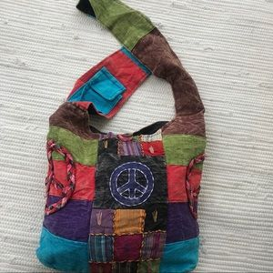 Natural Dyes SAK Peace Hippie Hobo Crossbody